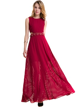 Ericdress Appliques Sleeveless Hollow Maxi Dress