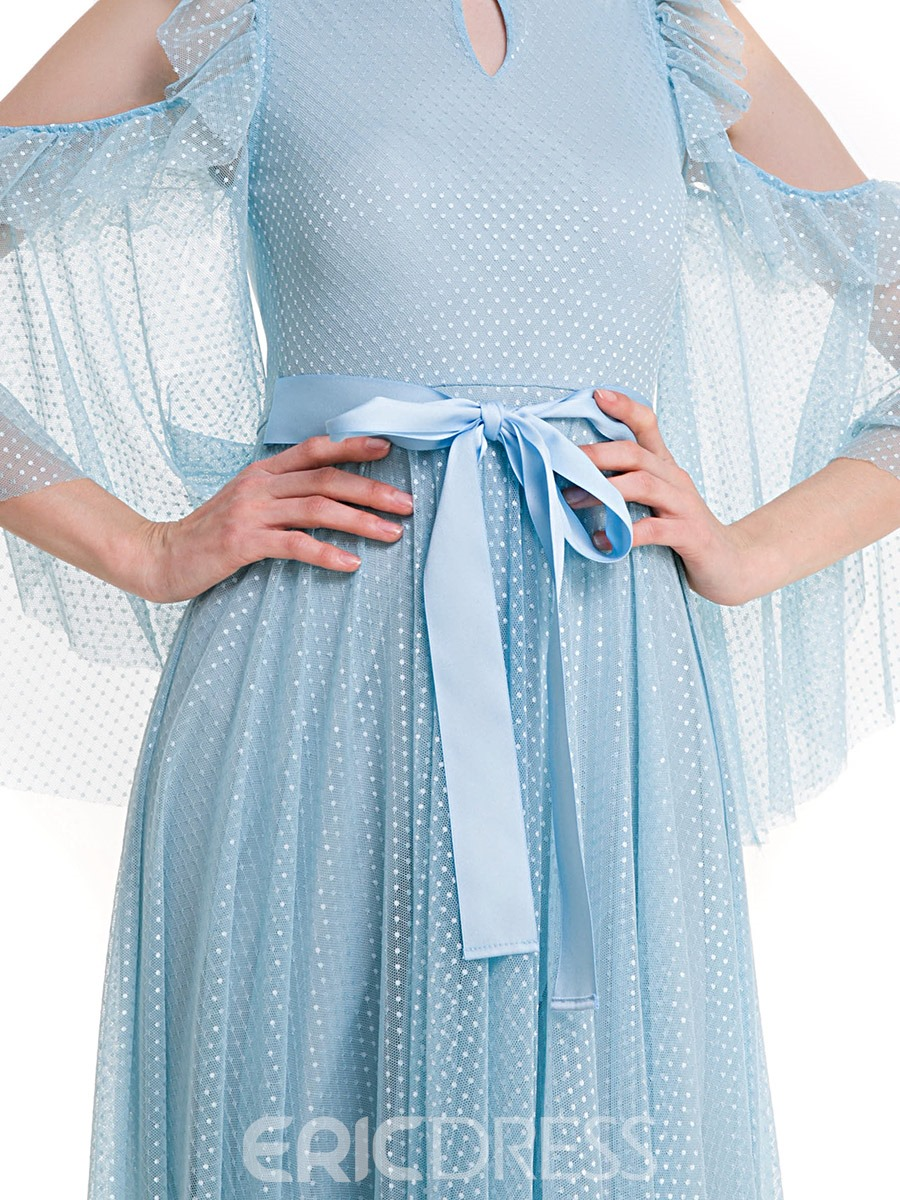 Ericdress Flare Sleeve Polka Dots Expansion Maxi Dress