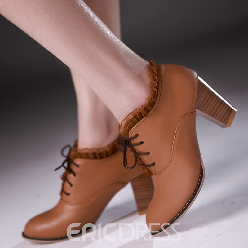 Ericdress Graceful Lace up High Heel Boots