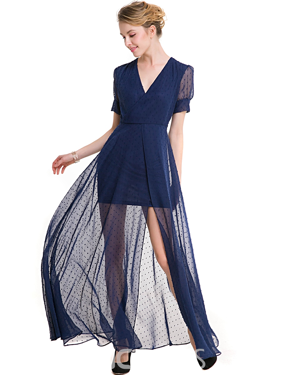 Ericdress Cross V-Neck Mesh Split Patchwork Maxi Dress