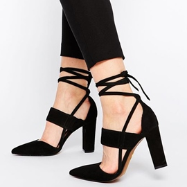 Ericdress Suede Point Toe Chunky Sandals