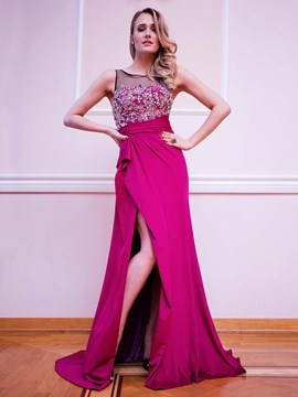 Ericdress A Line Scoop Neck Applique Beaded Side Slit Floor Length Evening Dress