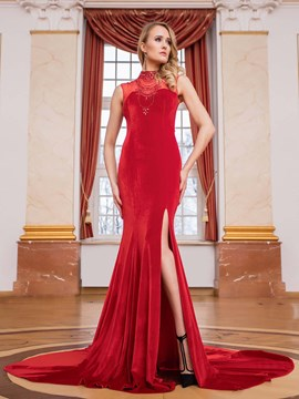 Ericdress Vintage High Neck Beaded Side Slit Evening Dress With Court Train