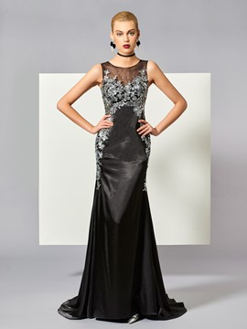 Ericdress Classic Black Applique Sequin Long Mermaid Evening Dress With Sweep Train