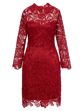 Ericdress See-Through Patchwork Slim Lace Dress