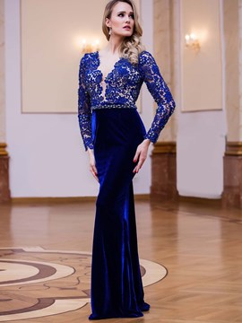 Ericdress Sheath V-Neck Long Sleeves Lace Beading Floor-Length Evening Dress
