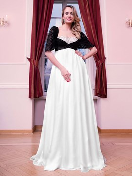 Ericdress A Line Off The Shoulder Beaded Empire Floor Length Evening Dress