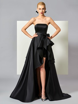 Ericdress Stylish A Line High Low Strapless Ruffles Asymmetry Evening Dress