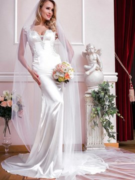 Ericdress Charming V Neck Appliques Mermaid Wedding Dress