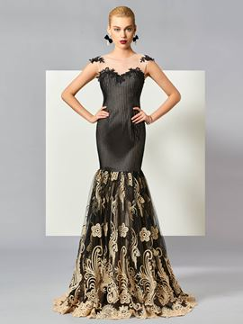 Ericdress Stunning Scoop Neck Applique Trumpet Lace Evening Dress With Sweep Train