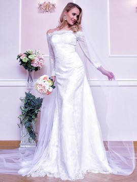 Ericdress Off The Shoulder Long Sleeves Lace Wedding Dress