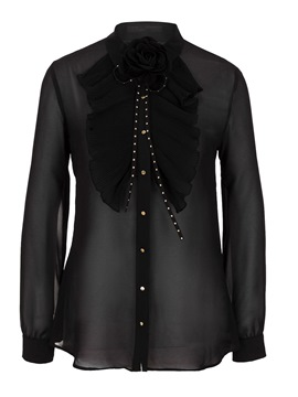 Ericdress Black Single-Breasted Appliques Bead Blouse
