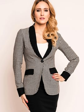Ericdress Plaid Color Block Slim Blazer