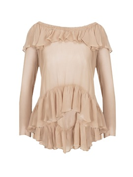 Ericdress Solid Color Slim Pleated Frill Blouse