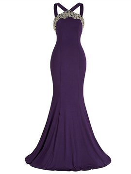 Ericdress Elgegant Halter Applique Backless Mermaid Evening Dress