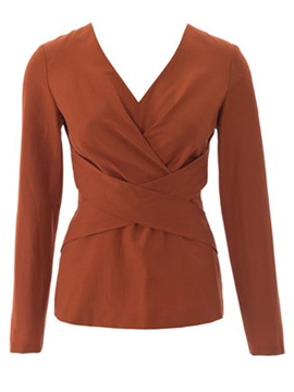 Ericdress V-Neck Slim Cross Blouse