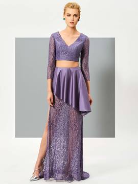 Ericdress Two Piece V-Neck Long Sleeves Lace Ruffles Sweep Train Evening Dress
