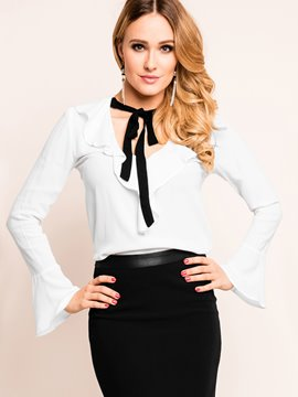 Ericdress Slim Lace-Up Trumpet Frill Blouse