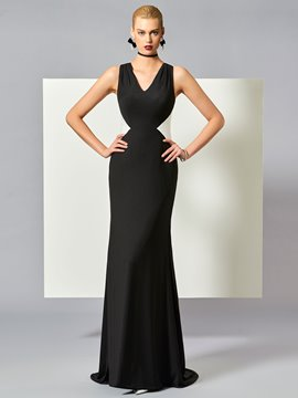 Ericdress Casual Sheath V-Neck Contrast Color Long Evening Dress