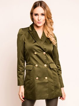 Ericdress Double-Breasted Solid Color Slim Blazer