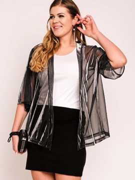 Ericdress Plus Size See-Through Cardigan Blouse
