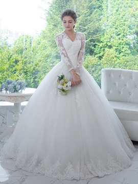 Ericdress Classic V Neck Appliques Long Sleeves Ball Gown Wedding Dress