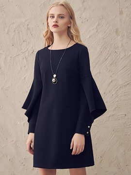 Ericdress Flare Sleeve Hollow Round Collar Above Knee Casual Dress