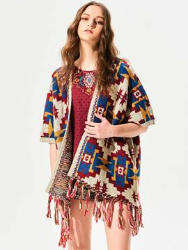 Ericdress Ericdress Loose Color Block Tassel Cape