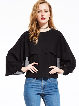 Ericdress Solid Color Batwing Blouse