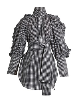 Ericdress Turtle Neck Falbala Plaid Belt Blouse