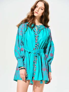 Ericdress Tassel Geometric Pattern Embroideried Blouse