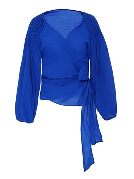 Ericdress Blue Belt Wrap Front Blouse