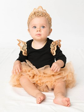Ericdress Long Sleeve Romper Tutu Dress with Headband 3-Pcs Baby Girls Outfit