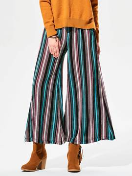 Ericdress Stripe Color Block Chiffon Wide Legs Pants