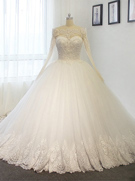 Ericdress Amazing Appliques Beaded Off The Shoulder Ball Gown Long Sleeves Wedding Dress