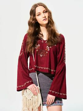 Ericdress Geometric Pattern Embroidery Patchwork Blouse