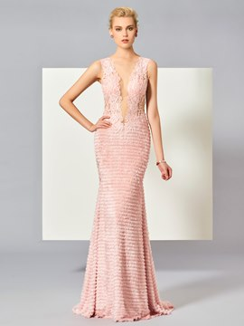 Ericdress Stylish Lace Scoop Neck Button Back Floor Length Mermaid Evening Dress