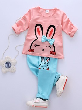 Ericdress Rabbit Print Long Sleeve T-Shirt Pants Baby Girls Outfit