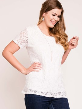 Ericdress Solid Color Lace T-Shirt