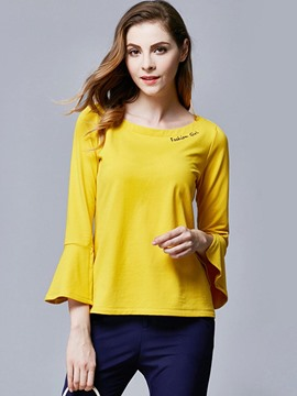 Ericdress Solid Color Loose Trumpet T-Shirt