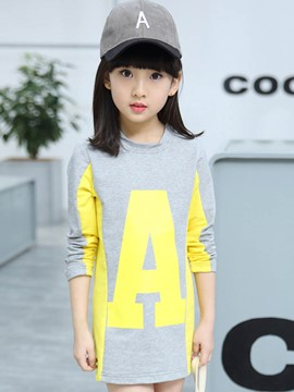 Ericdress Letter Color Block Girls T-Shirt