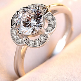 Ericdress Shiny Imitation Diamond Flower Matched Ring