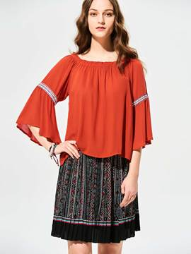 Ericdress Slash Neck Flare Sleeves Pleated T-shirt