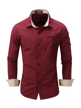Ericdress Long Sleeve Polka Dots Casual Men's Shirt