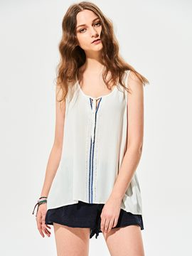 Ericdress Loose Plain Lace-Up Tank Top