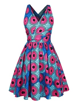 Ericdress Vintage Backless Polka Dots Pleated A Line Dress