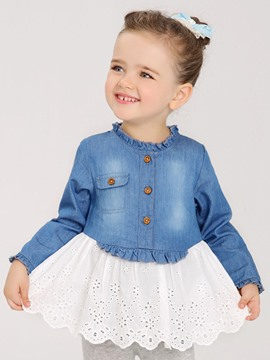 Ericdress Hollow Denim Patchwork Long Sleeve Bay Girls Dress