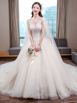 Ericdress Charming V Neck Appliques Beaded Ball Gown Backless Wedding Dress