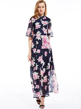 Ericdress Floral Print Stand Collar Backless Maxi Dress