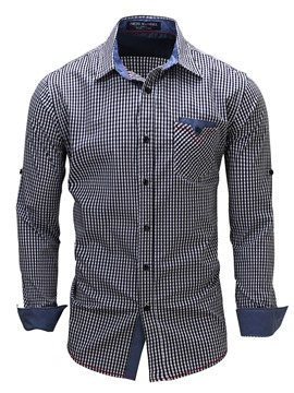 Ericdress Pocket Long Sleeve Plaid Casual Men's Shirt